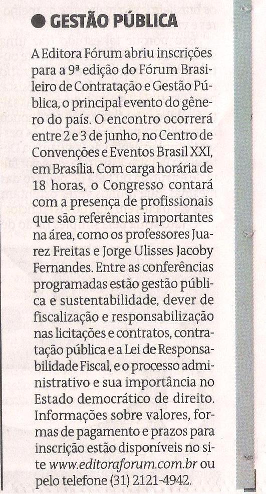 Caderno Direito & Justiça, do Jornal Estado de Minas, publica nota sobre o IX Fórum Bras. de Contratação e Gestão Pública