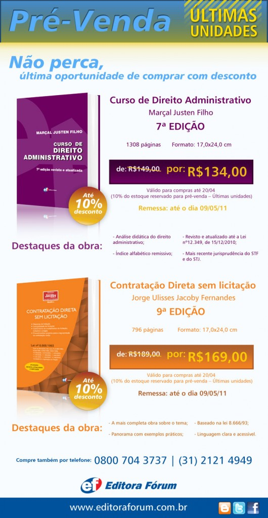 Pré-venda Jorge Ulysses Jacoby Fernandes e Marçal Justen Filho – últimas unidades