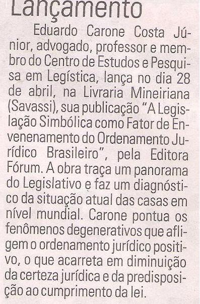 Jornal Hoje em Dia publica sobre o lançamento de obra dia 28 de abril